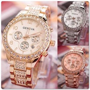 Geneva Stainless Steel Crystal Watch